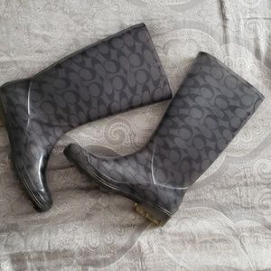 Coach rainboots black and grey